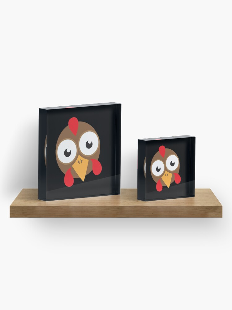 Alternate view of goggly eyed turkey face Acrylic Block