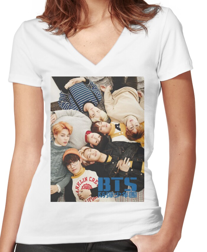 BTS Layin' Around Women's Fitted V-Neck T-Shirt