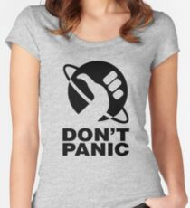 Don't Panic - Hitchhikers Guide Women's Fitted Scoop T-Shirt