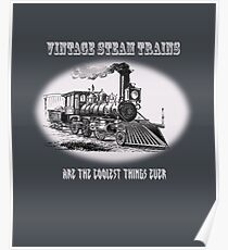 Vintage steam trains are the coolest thing ever - model train fan, trainspotter, Poster