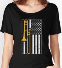 United States Flag & Marching Band Trombone Women's Relaxed Fit T-Shirt