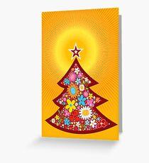 Spring Flowers Christmas Tree Greeting Card