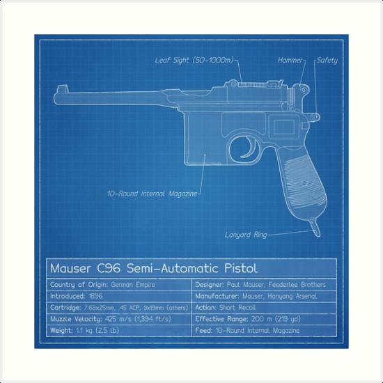 Mauser c96 blueprint art prints by nothinguntried redbubble mauser c96 blueprint by nothinguntried malvernweather Images