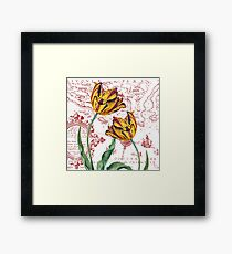 Red Yellow Tulips Maps Collage Framed Print