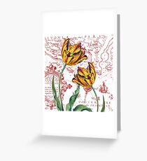 Red Yellow Tulips Maps Collage Greeting Card