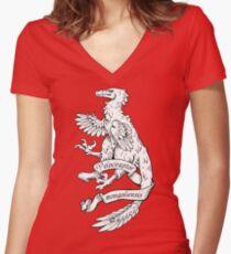 Heraldic Velociraptor Women's Fitted V-Neck T-Shirt