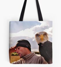 Oh, my head !!!......after a night out on the town Cedric is beginning to hallucinate - he thinks he has a Bald Eagle sitting on his arm ! Tote Bag