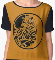Tiger Silhouette In Tribal Tattoo Style Chiffon Top