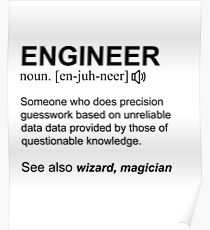 Engineer Definition Black Text Design Poster