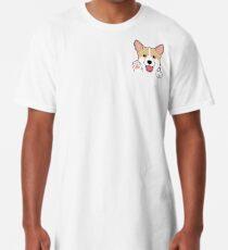 Camiseta larga Corgi In Pocket camiseta Cute Paws Blush Smile Puppy Emoji