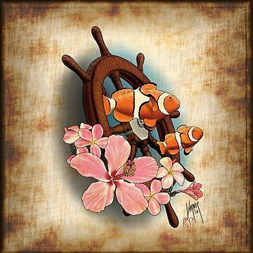 clownfish and ship's wheel by Steve-Varner