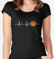 Basketball Heartbeat Women's Fitted Scoop T-Shirt