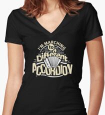 Marching To A Different Accordion Musician Gift For Band Lover Women's Fitted V-Neck T-Shirt