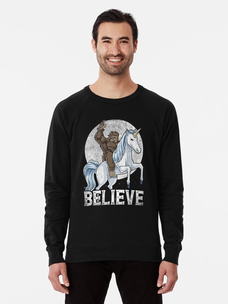 501526f8 Bigfoot Riding Unicorn T Shirt Funny Sasquatch Vintage Tees Lightweight  Sweatshirt