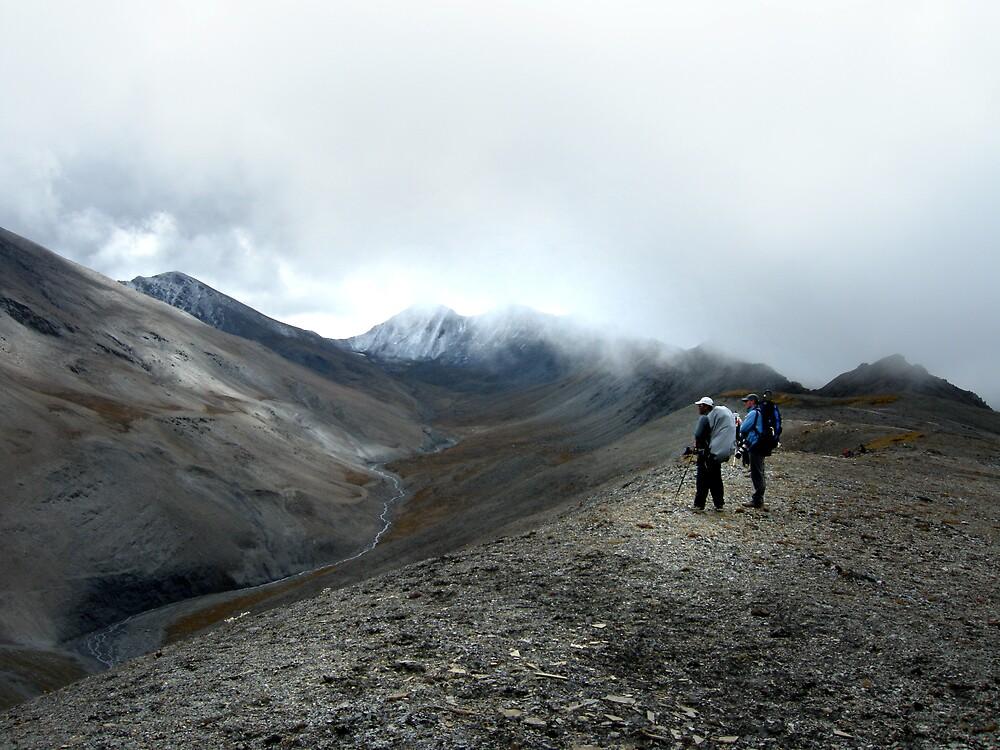 Jamie McGuinness and Gelje Sherpa (Dawa) trekking in Upper Dolpo by Hester Shortt-Smith