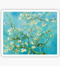 Almond Blossoms Vincent Van Gogh Flower Tree Turquoise and White Sticker