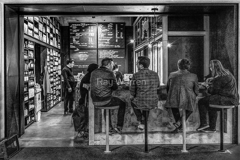 Market Cafe B&W by Raymond Warren