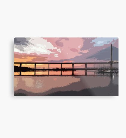 Sunset under the Crossing Metal Print