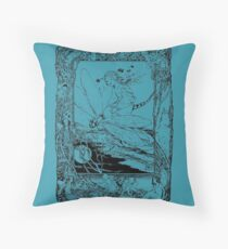 The Girl Riding the Dragonfly  Throw Pillow