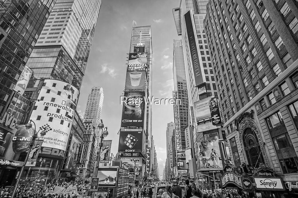 Times Square Hustle B&W by Raymond Warren