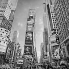 Times Square Hustle B&W by Ray Warren