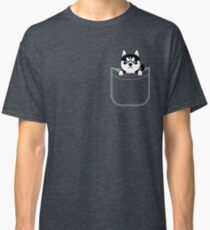 Husky In Pocket Funny Cute Puppy Expression Classic T-Shirt