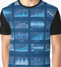 Business Data Financial Charts Blue Banner Graphic T-Shirt