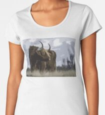 Hairy Cow with Horns Women's Premium T-Shirt