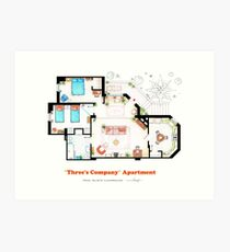 Three's Company Apartment Floorplan Art Print