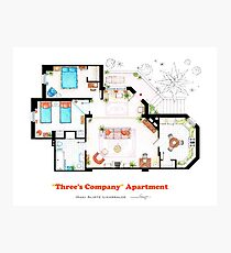 Three's Company Apartment Floorplan Photographic Print