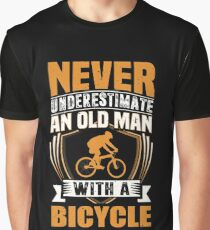 Never Underestimate An Old Man With A Bicycle Funny Graphic T-Shirt