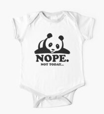 Nope Not Today Lazy Panda Funny Laziness Graphic Short Sleeve Baby One-Piece