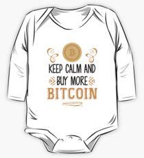 Halten Sie Ruhe und kaufen Sie mehr Bitcoin - Crypto Währung BTC Investor Geld Shirt Baby Body Langarm