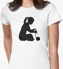 Knitting girl woman Womens Fitted T-Shirt