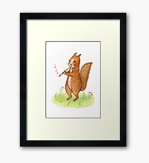 Squirrel with pipe Framed Print