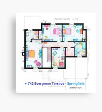 House of Simpson family - First Floor Metal Print
