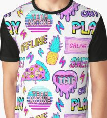Colorful seamless pattern with patches: pineapples, pizza slices, hearts, etc. Graphic T-Shirt
