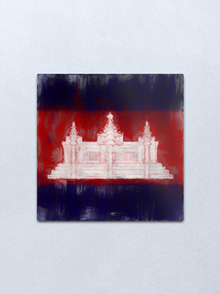 Alternate view of Cambodia Flag Reworked No. 1, Series 2 Metal Print