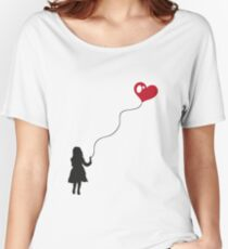 Child with heart balloon. Love. Women's Relaxed Fit T-Shirt