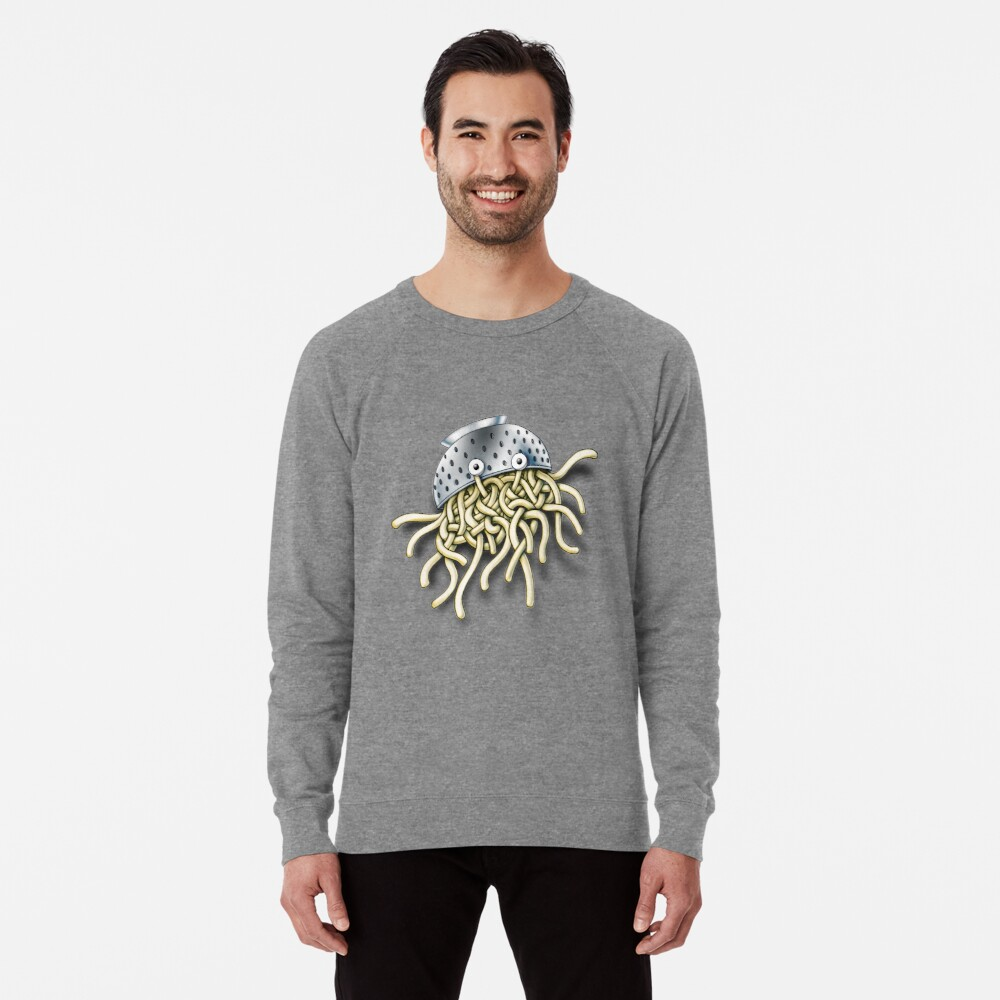 Flying Spaghetti Monster with Colander Lightweight Sweatshirt