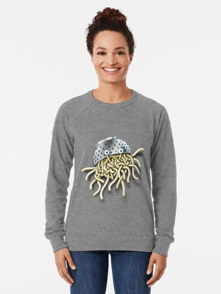 Alternate view of Flying Spaghetti Monster with Colander Lightweight Sweatshirt