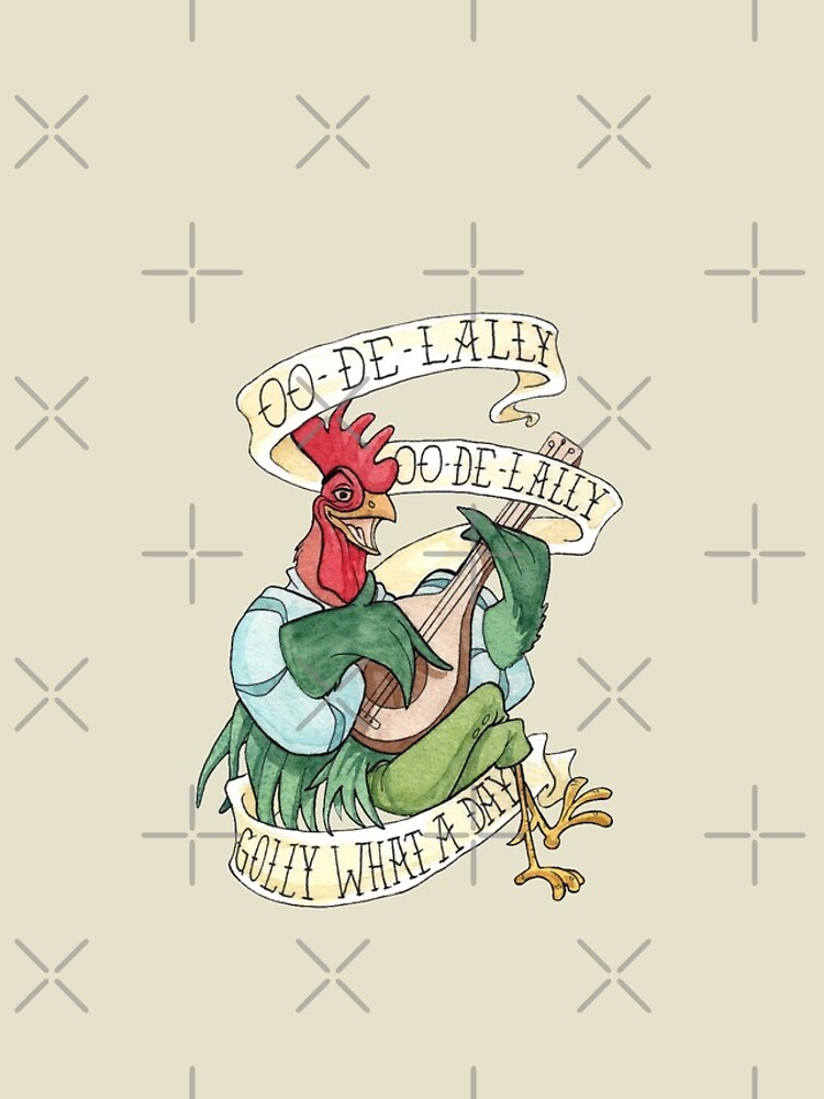 Alan-A-Dale Rooster : OO-De-Lally Golly What A Day Tattoo Watercolor Painting Robin Hood von Rvaya