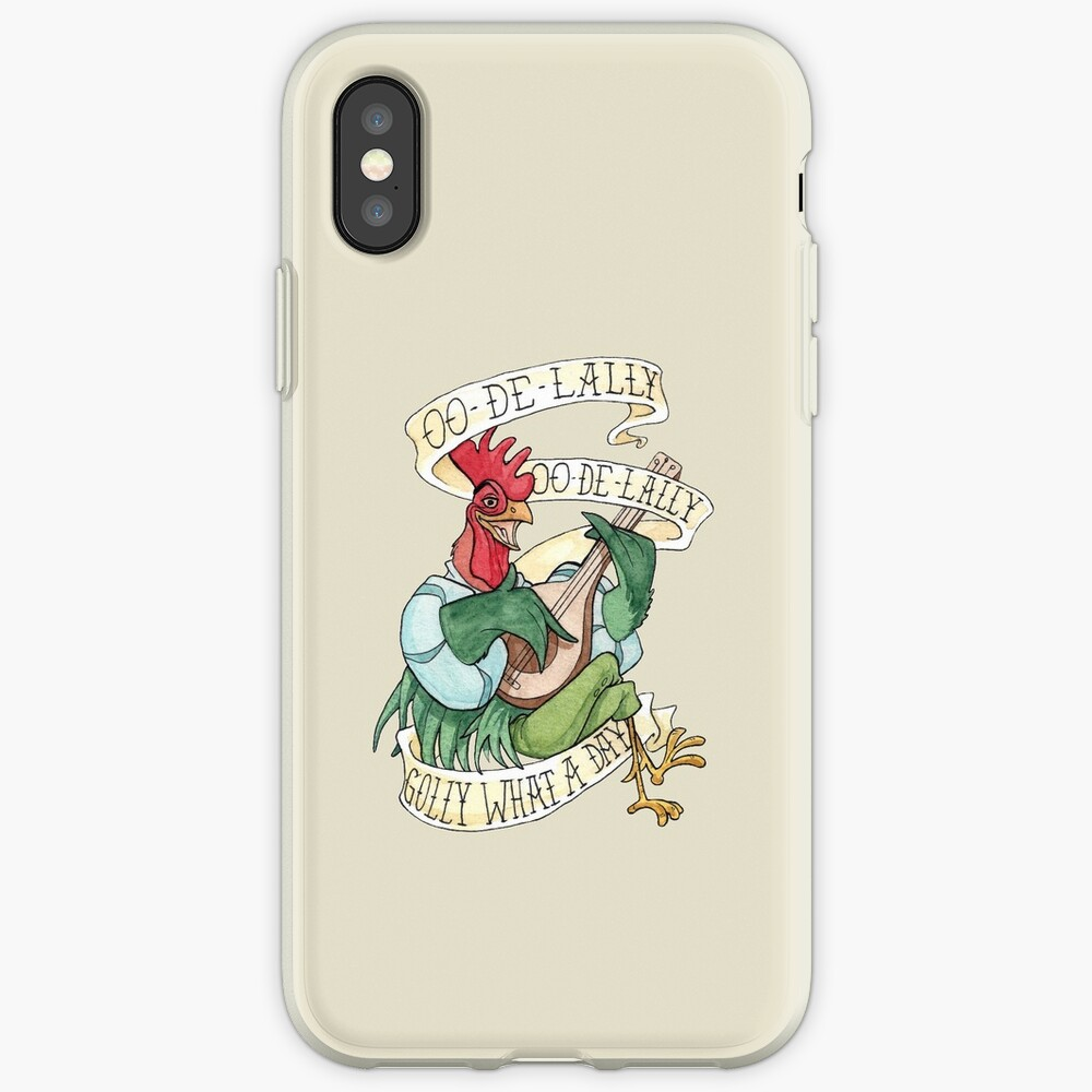 Alan-A-Dale Rooster : OO-De-Lally Golly What A Day Tattoo Watercolor Painting Robin Hood iPhone-Hüllen & Cover