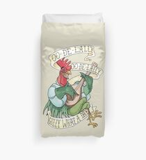 Alan-A-Dale Rooster : OO-De-Lally Golly What A Day Tattoo Watercolor Painting Robin Hood Duvet Cover
