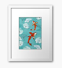 Waterlily koi in turquoise Framed Print