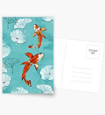 Waterlily koi in turquoise Postcards