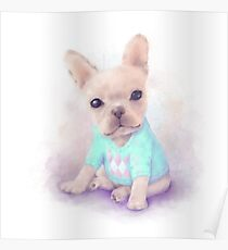 French Bull dog puppy sits on a white, watercolor painting Poster