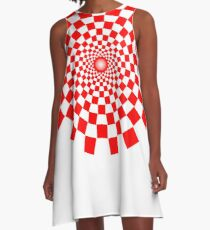Optical Illusion, Spiral, RED A-Line Dress