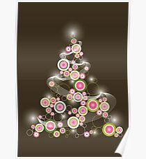 Pink Retro Circles Christmas Tree Poster