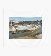 Tugboat and Ship on River Wall Tapestry